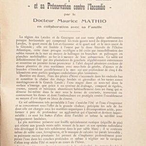 La Culture méthodique du Pin maritime et sa Préservation contre l'incendie – Docteur Maurice Mathio – Imprimeur P. -H. Labèque Imprimeur Dax –