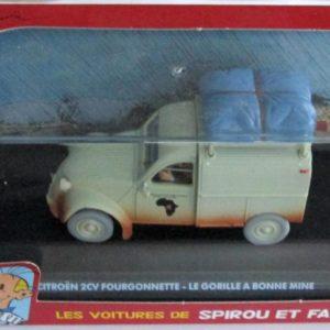 Les voiture de Spirou et fantasio : Citroën 2CV Fourgonnette – Le Gorille a bonne mine – Éditions Atlas – Modèle en métal – Échelle 1/43 –