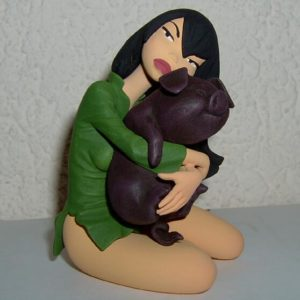 Alix et son cochon – Figurine en résine polychrome sculptée par Pascal Rodier – Fariboles Productions 1999 –